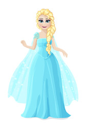 Illustration of a cute Princess in a blue dress with blond hair.