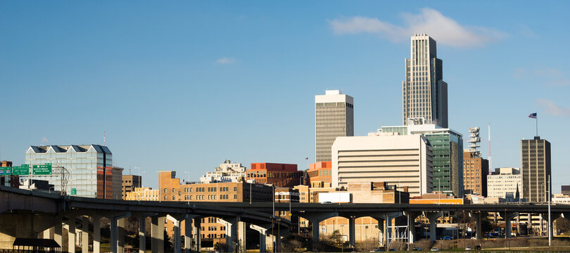 Omaha Nebraska Downtown City Skyline Highway Overpass