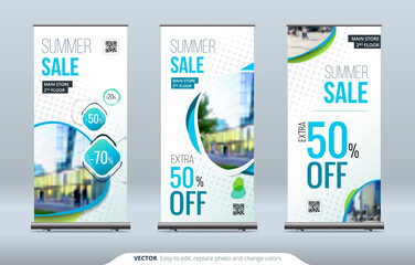 Business Roll Up Banner stand. Presentation concept. Abstract modern roll up background. Vertical roll up template billboard, banner stand or flag design layout. Poster for conference, forum, shop