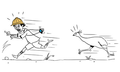 Vector Cartoon of Male Tourist Running Away from Large Ostrich Bird