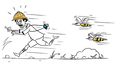 Vector Cartoon of Male Tourist Running Away from Large Bee or Wasp Swarm