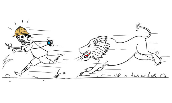 Vector Cartoon of Male Tourist Running Away from Male Lion