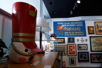 "A toy soldier head piece is seen on display during a press preview for the upcoming auction ""Walt Disney's Disneyland"" at Van Eaton Galleries in Sherman Oaks, California"