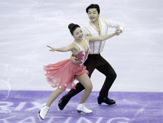 Maia Shibutani and Alex Shibutani of the U.S. perform during the ice dance short dance program at the ISU Grand Prix of Figure Skating final in Barcelona