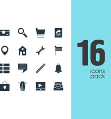 Vector Illustration Of 16 Internet Icons. Editable Pack Of Trolley, Messages, Capture And Other Elements.