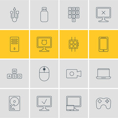 Vector Illustration Of 16 Notebook Icons. Editable Pack Of Antivirus, Gamepad, Mainframe And Other Elements.