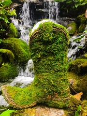 An up close view of a moss covered cowboy boot planter in front of a lush tranquil waterfall.