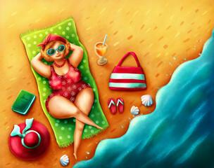 Plump woman on the beach