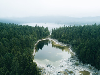 Aerial view of lake Eibsee with forest