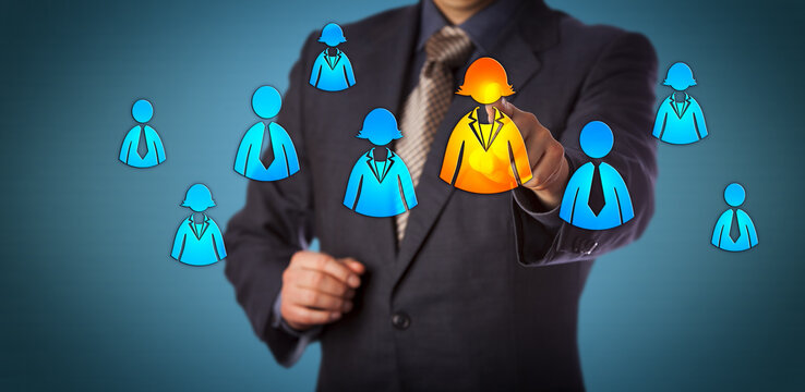 Recruiter Selecting Female Employee Icon