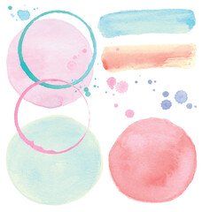 Painted Circles, Brush Strokes and Splatter Watercolor Vector Set