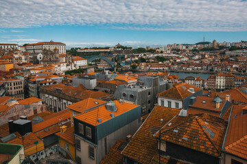 Bird's-eye view old downtown of Porto, Douro river and Dom Luis I bridge, Portugal.