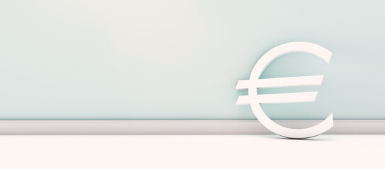 european euro currency symbol standing at empty wall - ready for copy space