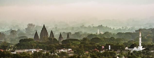 Prambanan Temple foggy morning