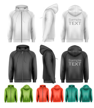 Set of black and white and colorful male hoodies with zipper. Vector