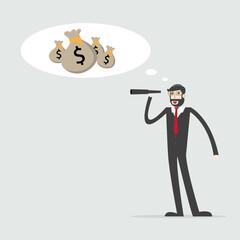 Vision and Growth concept. Businessman looks through a telescope on growth arrow. Business concept cartoon illustration