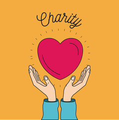 color image background hands with floating heart charity symbol vector illustration