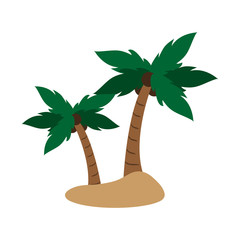 isolated island with palm trees icon image vector illustration design