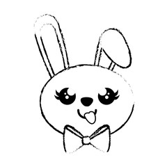 kawaii rabbit with decorative ribbon icon over white background. vector illustration