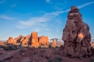 Natural Monuments in sunset light at Arches National Park, Utah, USA.