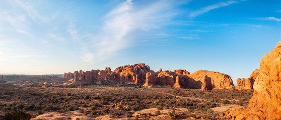 Natural Monuments Panorama in Arches National Park, Utah, USA.