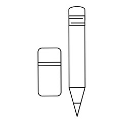 pencil and eraser icon over white background vector illustration