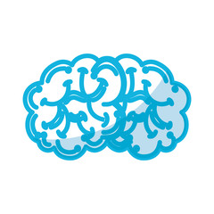 shadow blue brain cartoon vector graphic design