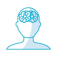 shadow blue brain faceless man cartoon vector graphic design