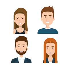 Peoples faces set over white background. Vector illustration.