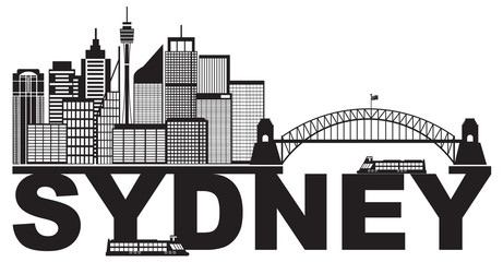 Sydney Australia Sklyine Text Outline Black and White vector Illustration