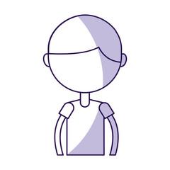 cute shadow upper body purple boy cartoon vector graphic design
