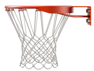 Basketball hoop and net isolated on white background