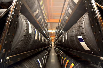Tire rubber products , Group of new tires for sale at a tire store. Wall mural