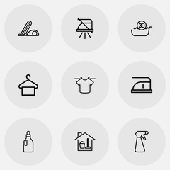 Set Of 9 Editable Hygiene Icons. Includes Symbols Such As Hoover, Notice, Cleaning Day And More. Can Be Used For Web, Mobile, UI And Infographic Design.