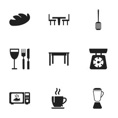 Set Of 9 Editable Kitchen Icons. Includes Symbols Such As Desk, Bread, Coffee And More. Can Be Used For Web, Mobile, UI And Infographic Design.
