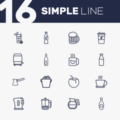 Set Of 16 Beverages Outline Icons Set.Collection Of Bottle, Hot Drink, Wine Cask And Other Elements.