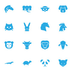 Set Of 16 Alive Icons Set.Collection Of Trunked Animal, Hog, Hound And Other Elements.