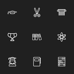 Set Of 9 Editable Education Icons. Includes Symbols Such As Dictionary, Molecule, Pillar And More. Can Be Used For Web, Mobile, UI And Infographic Design.