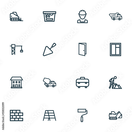 Architecture Outline Icons Set Collection Of Door Concrete Mixer