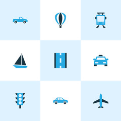 Transportation Colorful Icons Set. Collection Of Stoplight, Sailboat, Plane And Other Elements. Also Includes Symbols Such As Sailing, Road, Taxi.