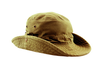 brown adventure hat isolated on white background.