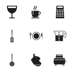Set Of 9 Editable Kitchen Icons. Includes Symbols Such As Potholder, Plate, Grater And More. Can Be Used For Web, Mobile, UI And Infographic Design.