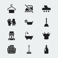 Set Of 12 Editable Cleaning Icons. Includes Symbols Such As Gauntlet, Clean T-Shirt, Bathroom And More. Can Be Used For Web, Mobile, UI And Infographic Design.