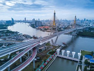 bridge and river aerial view in Bangkok Thailand