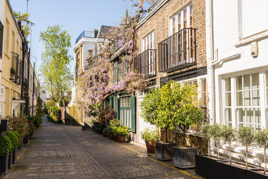 Elegant houses in a small exclusive mews with cobble stone street in South Kensington, London, UK