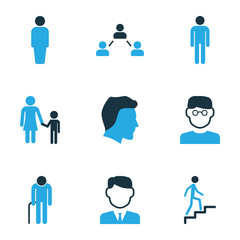 Human Colorful Icons Set. Collection Of Head, Clever, Client And Other Elements. Also Includes Symbols Such As Customer, User, Child.