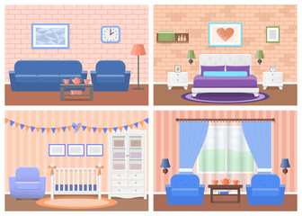 Rooms interiors. Vector furniture. Living room, bedroom, hotel, baby room in flat design. Cartoon house equipment couch, bed, crib, armchair, table, wardrobe, lamps. Set of animated illustrations.