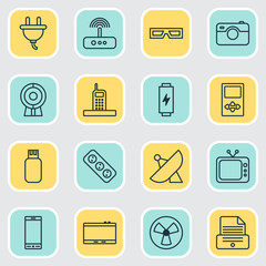 Hardware Icons Set. Collection Of Web Discussing, Spectacles, Call And Other Elements. Also Includes Symbols Such As Photocopy, Usb, Socket.