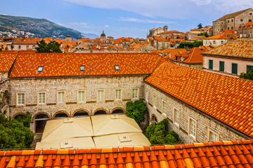 Croatia. Ancient town Dubrovnik sunset panoramic view