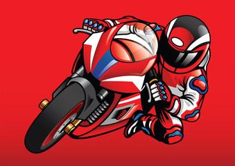 Sportbike racer in action